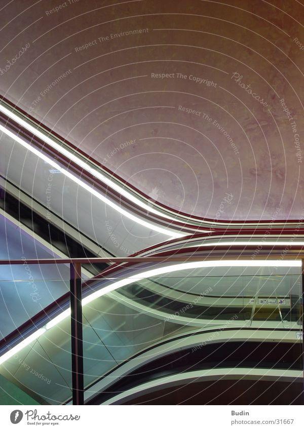 Architecture Stairs Handrail Neon light Escalator