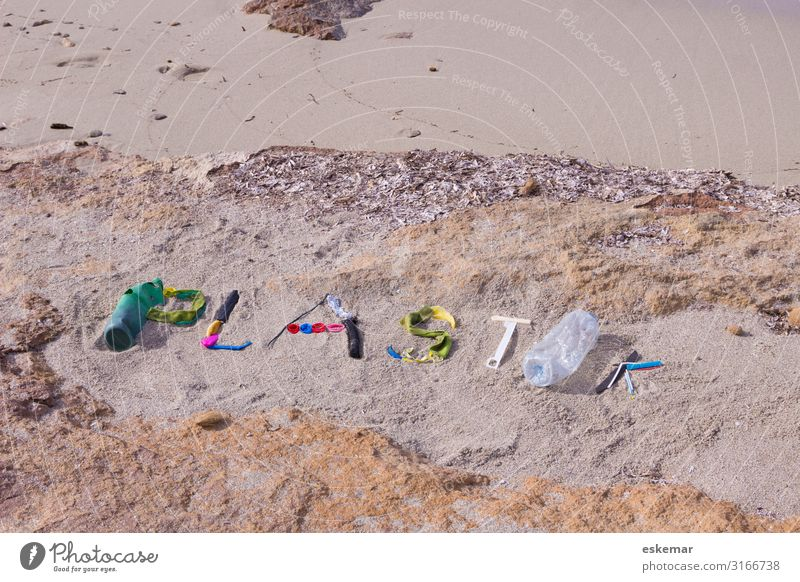 Nature Ocean Beach Environment Coast Sand Characters Dirty Island Sign Many Spain Plastic Trash Word Environmental protection