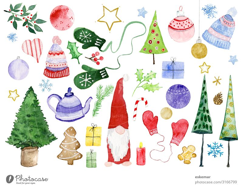 Christmas div motives in watercolor Winter Decoration Feasts & Celebrations Christmas & Advent Santa Claus Art Work of art Painting and drawing (object)