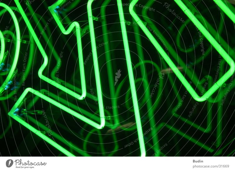 Shopville Neon light Neon sign Green Photographic technology Detail shopville Lamp Reflection