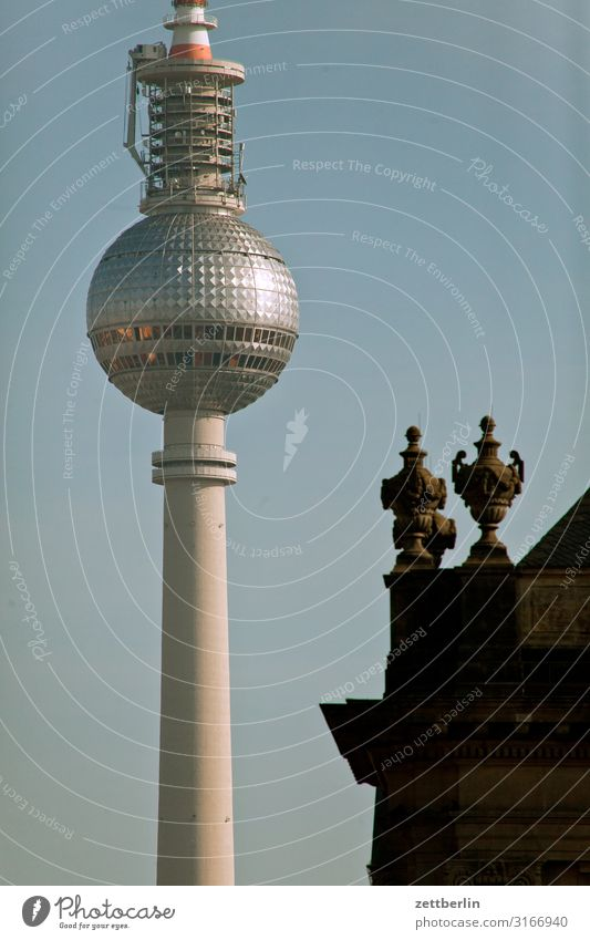 television tower Alexanderplatz Berlin Berlin TV Tower Capital city Town Tourism Landmark Sphere Sky Heaven Summer Deserted Copy Space Portal Classicism