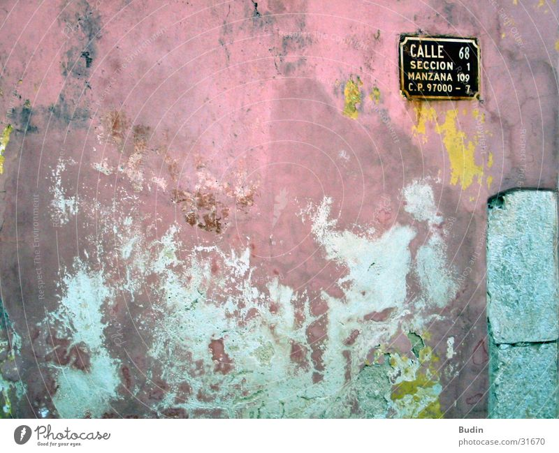 Calle Luna, call solle Wall (building) Street sign Red Yellow Plaster Architecture Mexico Old Detail