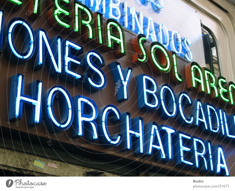 horchateria Neon light Neon sign Wall (building) Spain Photographic technology Detail Blue