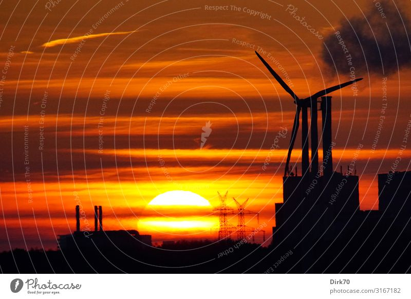 Landscape Sun Dark Autumn Orange Dirty Energy industry Technology Beautiful weather Future Industry Climate Smoke Wind energy plant Factory Science & Research