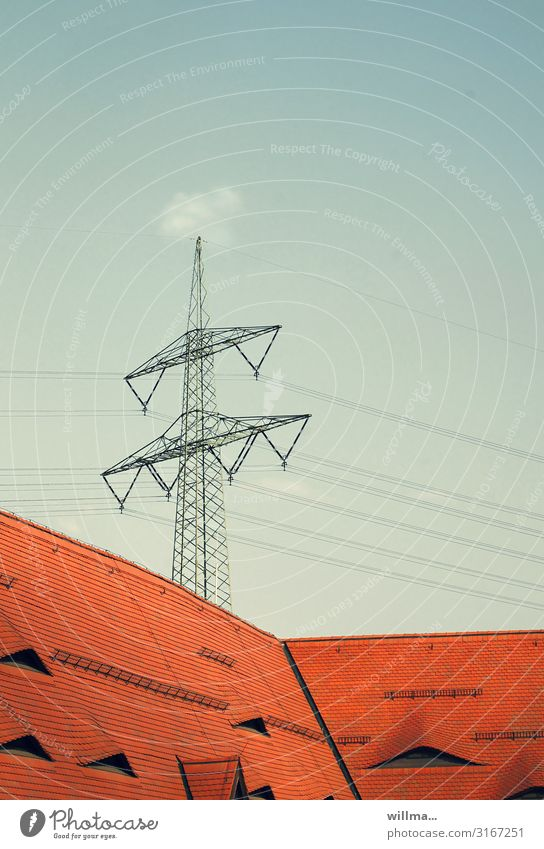 electricity suppliers Electricity pylon Energy Energy industry Renewable energy carrying mast Power transmission Tension message transmission Tiled roof