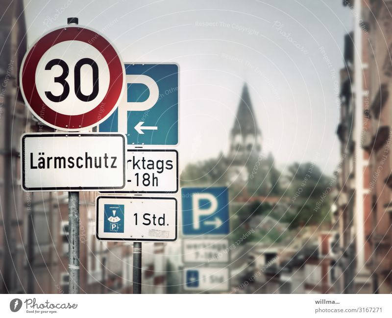 traffic signs for quiet drivers Road sign Sign forest noise protection Parking sign Speed limit Town Church Luther Church Chemnitz
