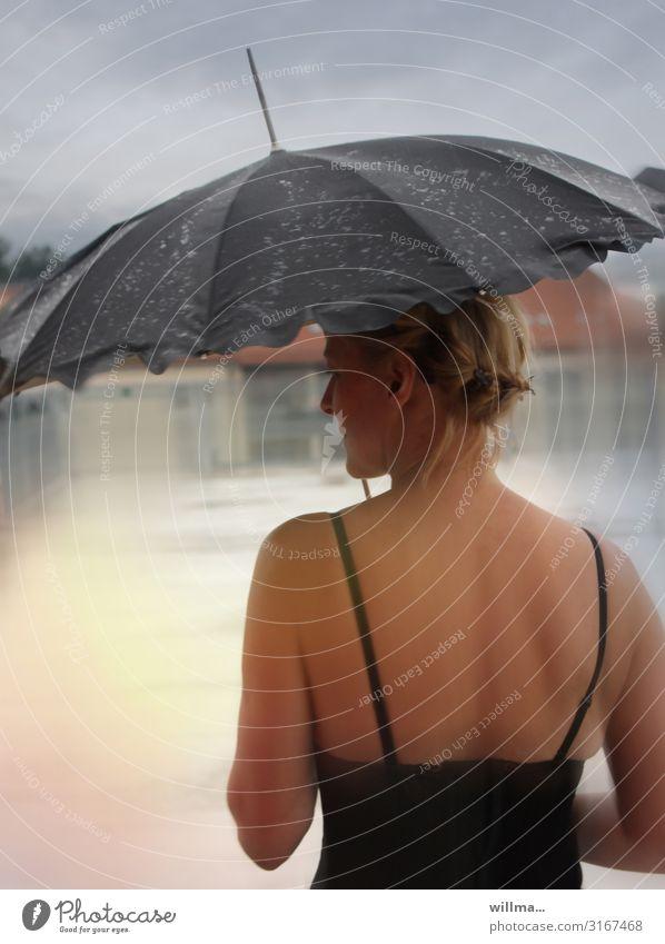 A beautiful back can also delight Feminine Woman Adults Underwear Eroticism Corsage Umbrella Blonde pretty Self-confident Rain Wet Reflection Dreamily