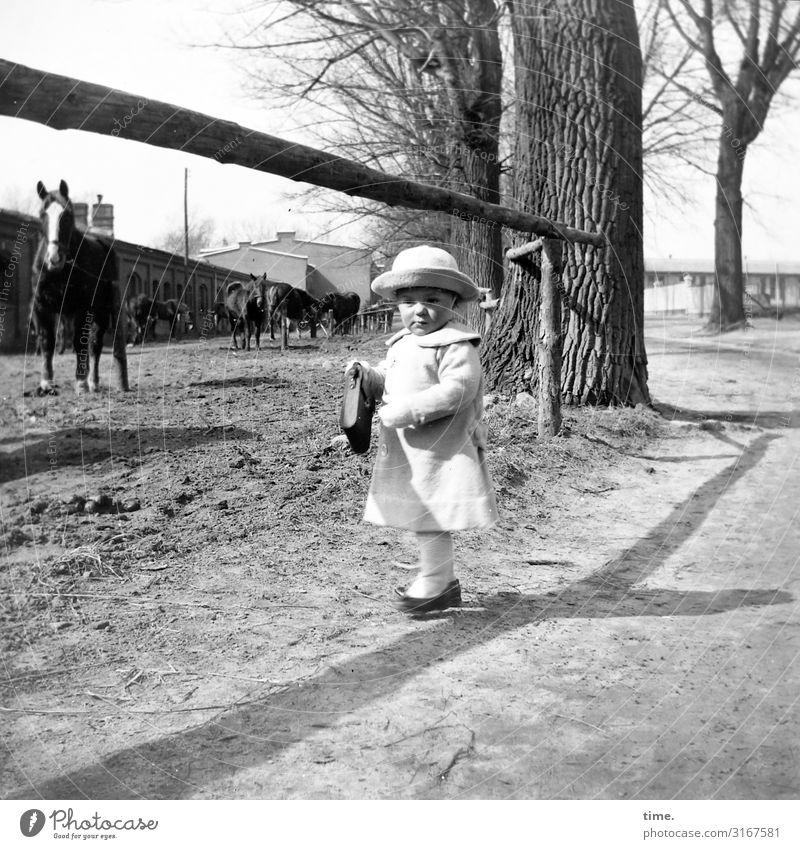 where the big boys live Masculine Boy (child) 1 Human being Beautiful weather Tree Manmade structures Barn Stable Lanes & trails Coat Bag Hat Animal Horse