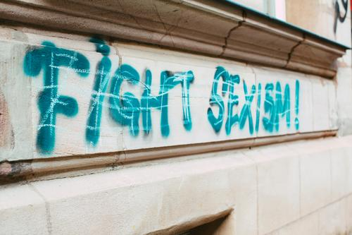 Fight sexism! graffiti Lifestyle Human being Young woman Youth (Young adults) Woman Adults Female senior Group Art Work of art Painting and drawing (object)