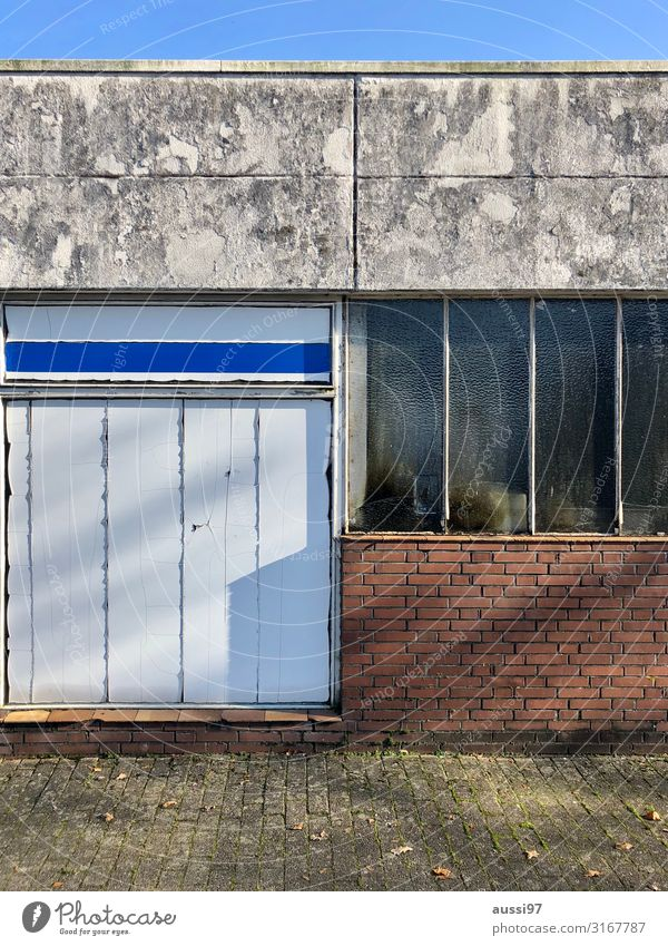 terrace happiness Window Shop window Deserted Loneliness Going Uninhabited nailed Boarded Warehouse Shadow Insolvency Poverty Closed