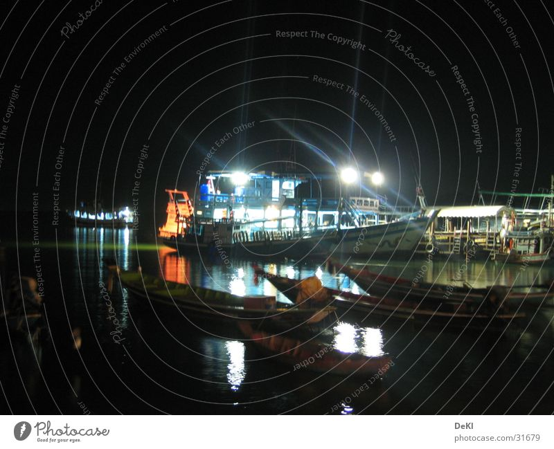 At night at the pier Ferry Night Jetty Drop anchor Watercraft Navigation Floodlight