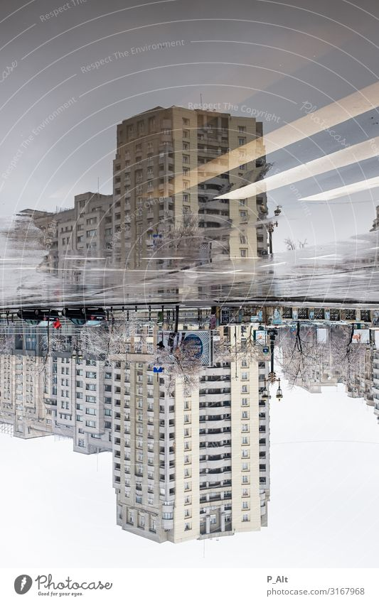 Bucharest Bad weather Rain Ice Frost Puddle Town Downtown High-rise Manmade structures Building Prefab construction Soviet Union Facade Traffic infrastructure