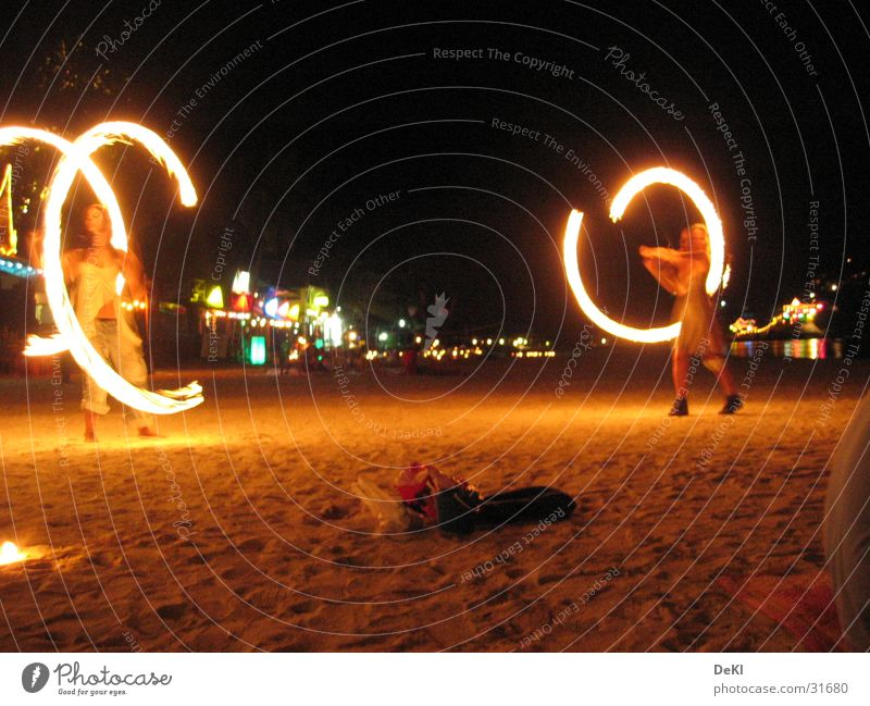 Torches on the beach Night Beach Long exposure Visual spectacle Leisure and hobbies Blaze Dance