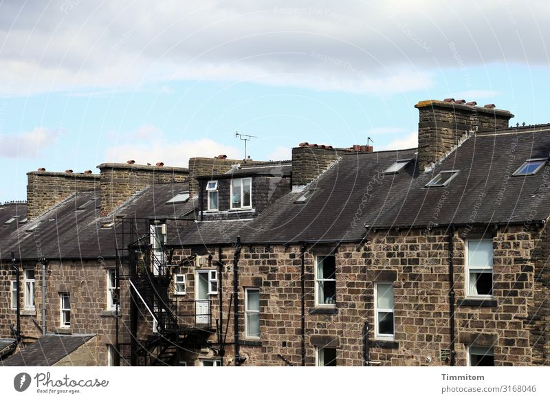 row of houses Sky Great Britain Yorkshire Town House (Residential Structure) Stone Blue Brown Black White Emotions Housefront Fireside Chimney Car Window
