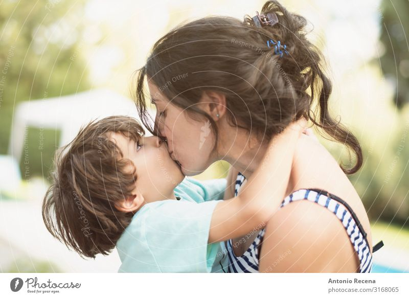 mother and son kiss in summer day Lifestyle Happy Garden Mother's Day Child Human being Boy (child) Woman Adults Parents Family & Relations Infancy 2