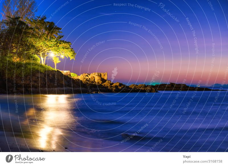 Night view of sand beach at tropical island Exotic Beautiful Relaxation Vacation & Travel Adventure Summer Summer vacation Beach Ocean Island Waves Nature