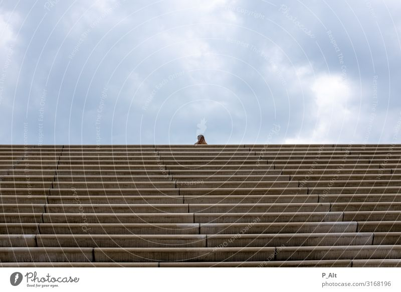 focal point Feminine 1 Human being Athletic Loneliness Stairs Horizontal Clouds Far-off places Colour photo Exterior shot
