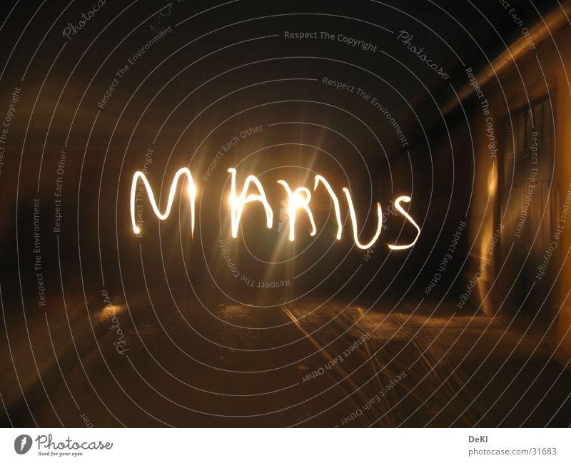 Name in the dark Dark Flashlight Light Long exposure Railroad tracks Obscure Marius Reaction