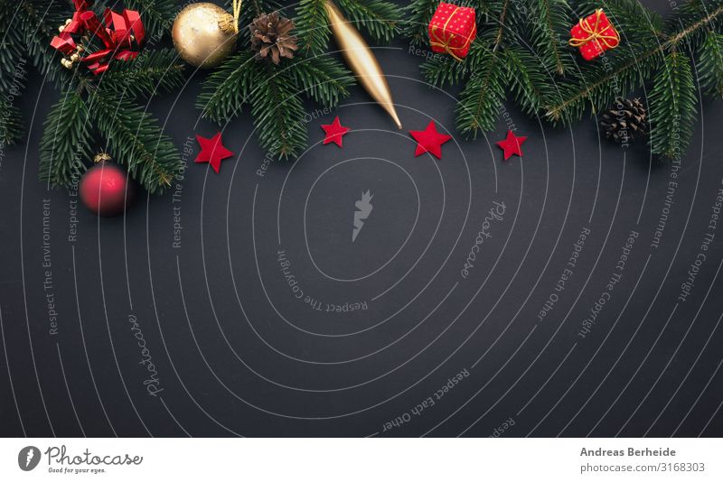Traditional Christmas decoration in gold and red Style Design Winter Christmas & Advent Decoration Retro box Background picture evergreen Conceptual design