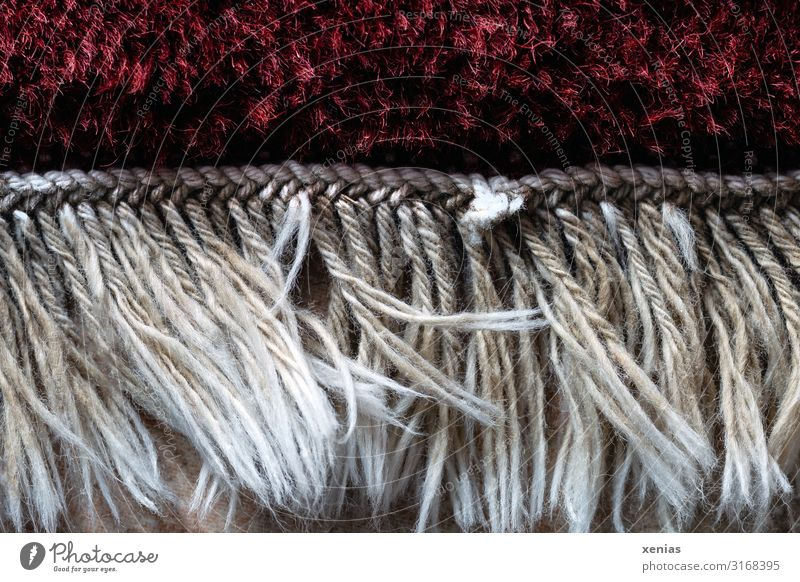Fringes at the edge of the carpet Living or residing Room Carpet Rug fringe Floor covering Soft Red White knotted fringed Subdued colour Interior shot Close-up