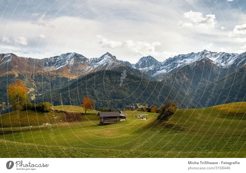 Mountains and valleys in Fiss, Austria Vacation & Travel Tourism Hiking Nature Landscape Sky Clouds Sunlight Autumn Beautiful weather Tree Rock Alps Peak
