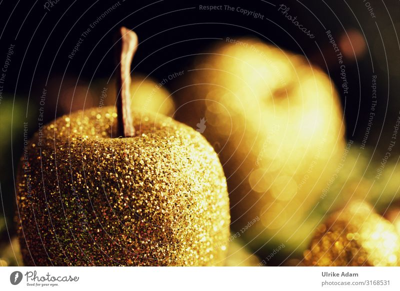 Golden Christmas Design Card Christmas & Advent Decoration Kitsch Odds and ends Glittering Illuminate Moody Belief Apple Christmas decoration ornamented apple