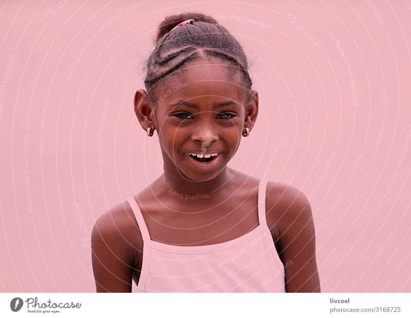 cuban girl on pink background Woman Child Human being Vacation & Travel Beautiful Joy Girl Black Face Street Eyes Lifestyle Adults Feminine Emotions