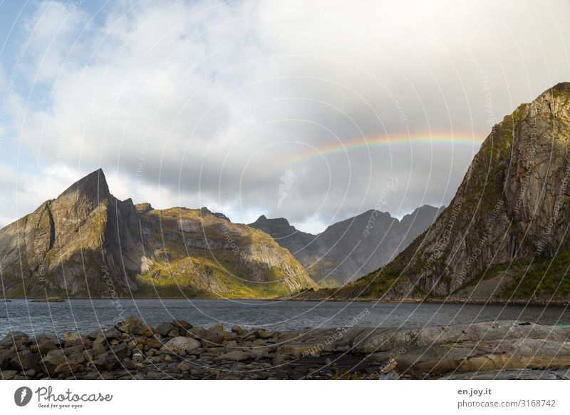 window look Vacation & Travel Nature Landscape Sky Storm clouds Autumn Climate Climate change Weather Rock Mountain Fjord Lofotes Scandinavia Norway Idyll