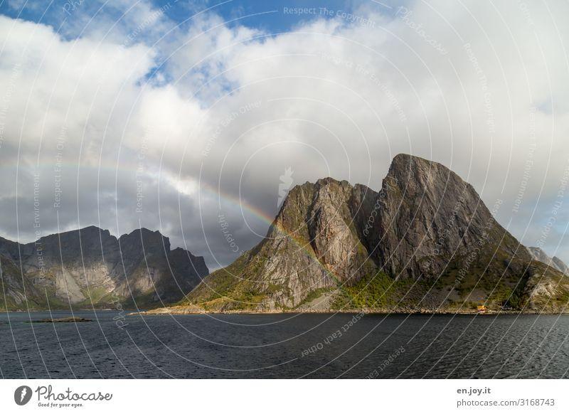 rainbow Vacation & Travel Trip Nature Landscape Elements Storm clouds Autumn Rock Mountain Fjord Island Lofotes Moskenesøya Reine Hamnöy Norway Scandinavia