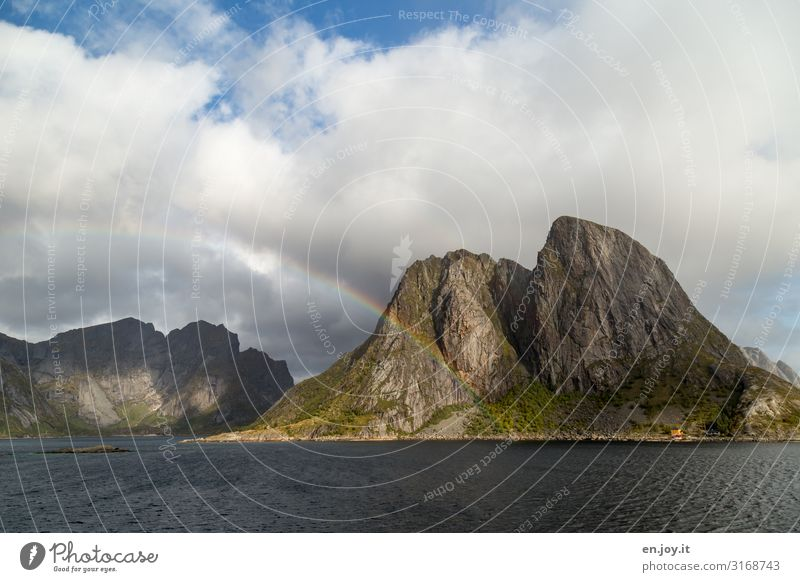 Vacation & Travel Nature Landscape Mountain Autumn Rock Trip Idyll Island Climate Elements Scandinavia Norway Rainbow Fjord Storm clouds