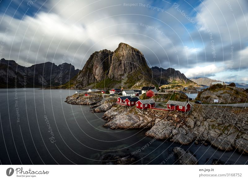 place of longing Vacation & Travel Tourism Trip Island Environment Nature Landscape Clouds Autumn Beautiful weather Rock Mountain Coast Fjord Hamnöy
