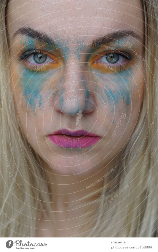 blonde woman with paint on her face pretty Personal hygiene Cosmetics Cream Make-up Lipstick Mascara Feasts & Celebrations Carnival Human being Feminine
