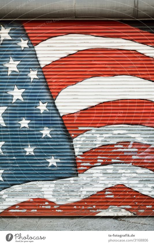 Old Blue Colour White Red Graffiti Wall (building) Wall (barrier) Freedom Facade Moody Decoration Line USA Star (Symbol) Change