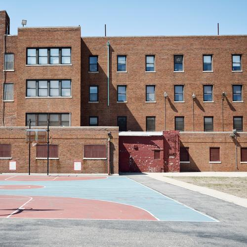 Blue Town House (Residential Structure) Window Architecture Wall (building) Sports Building Playing School Wall (barrier) Brown Facade Pink USA School building
