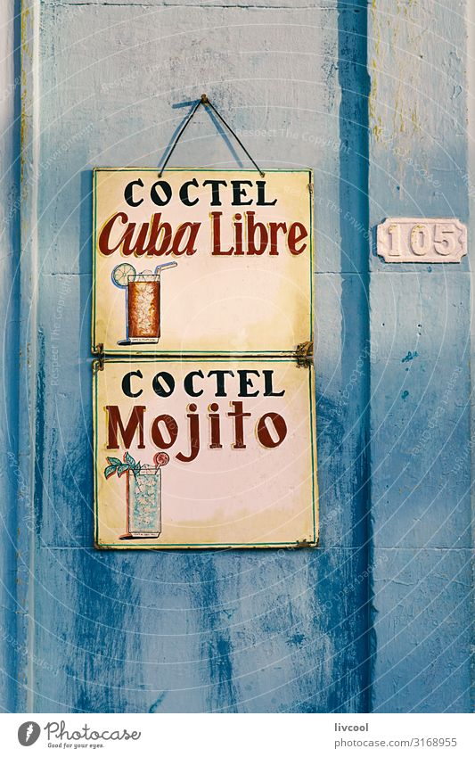 coctel mojito , cuba Vacation & Travel Old Blue Town House (Residential Structure) Street Architecture Lifestyle Wall (building) Building Art Tourism