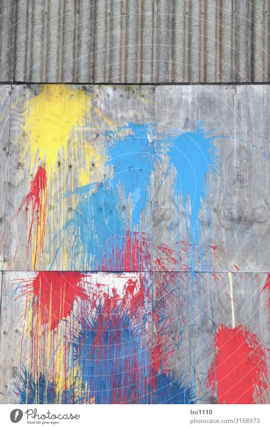 beautified | UT Hamburg Factory Industry Logistics Port City Deserted Industrial plant Wall (barrier) Wall (building) Facade Uniqueness Blue Yellow Gray Red