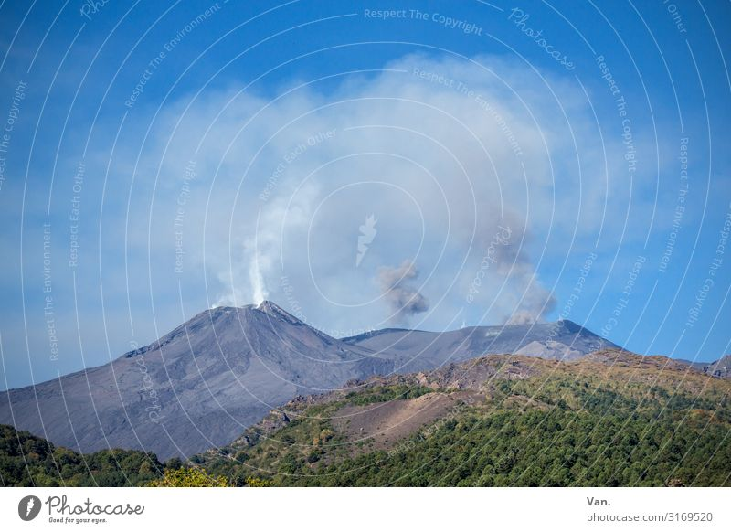 Etna² Nature Landscape Elements Sky Cloudless sky Summer Forest Hill Rock Mountain Peak Volcano Mount Etna Sicily Exceptional Blue Gray Green Threat Action