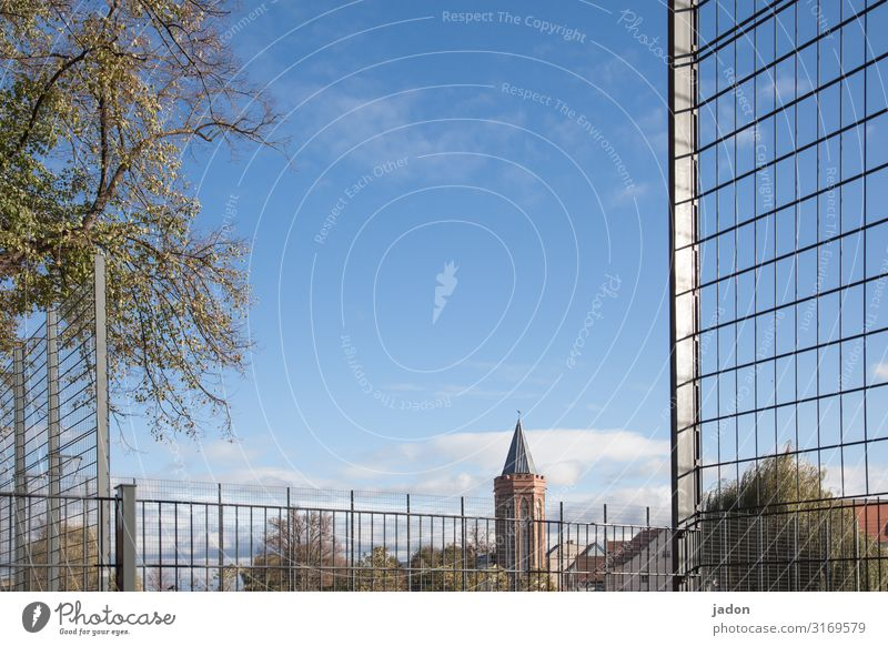 behind bars. Sporting Complex Sky Beautiful weather Tree Park Town Tower Safety Arrangement Protection Mesh grid Barrier Brandenburg an der Havel Colour photo