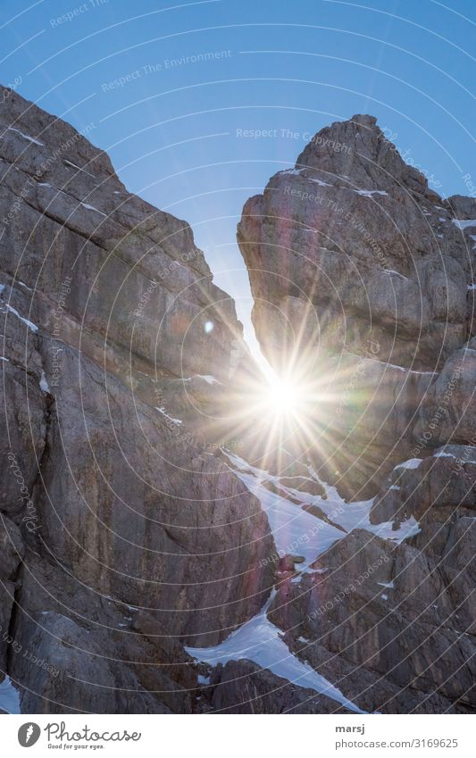 The big breakthrough Nature Cloudless sky Winter Beautiful weather Rock Alps Mountain dirndling Dachstein massif Peak Exceptional Authentic Elegant Success