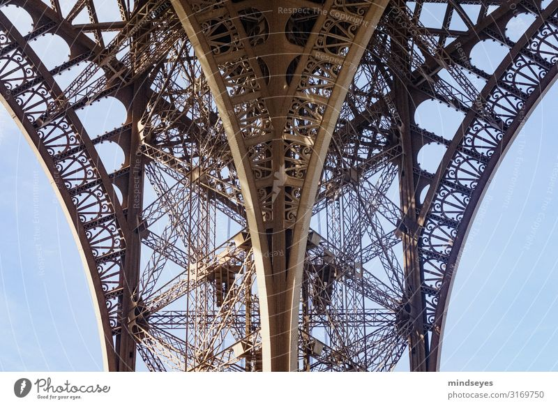 Detail of the Eiffel Tower Paris Deserted Old Esthetic Exceptional Retro Steel carrier Arch Continuity Colour photo Exterior shot Day