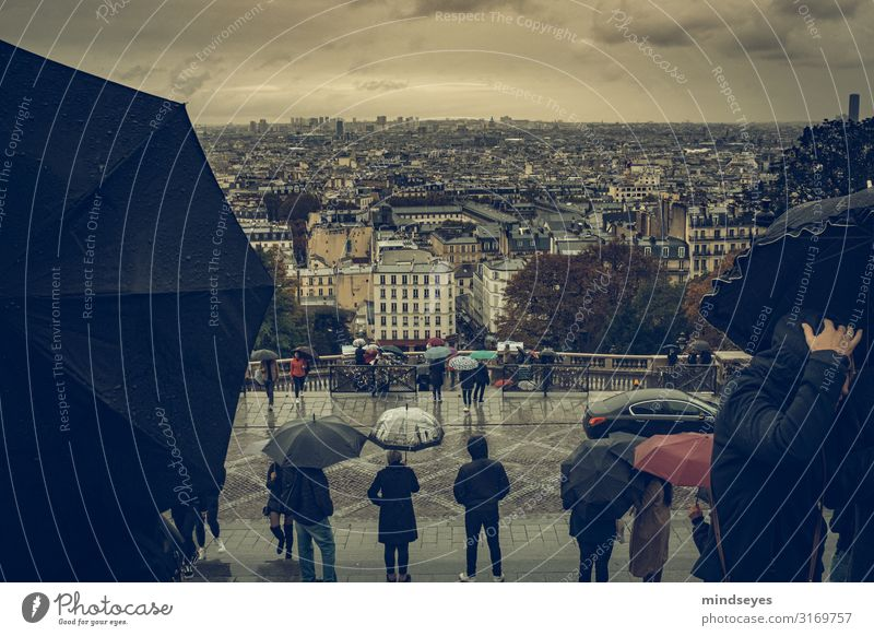 View of Paris in the rain Tourism Sightseeing City trip Human being Crowd of people Clouds Autumn Bad weather Rain Montmartre Capital city Downtown Populated