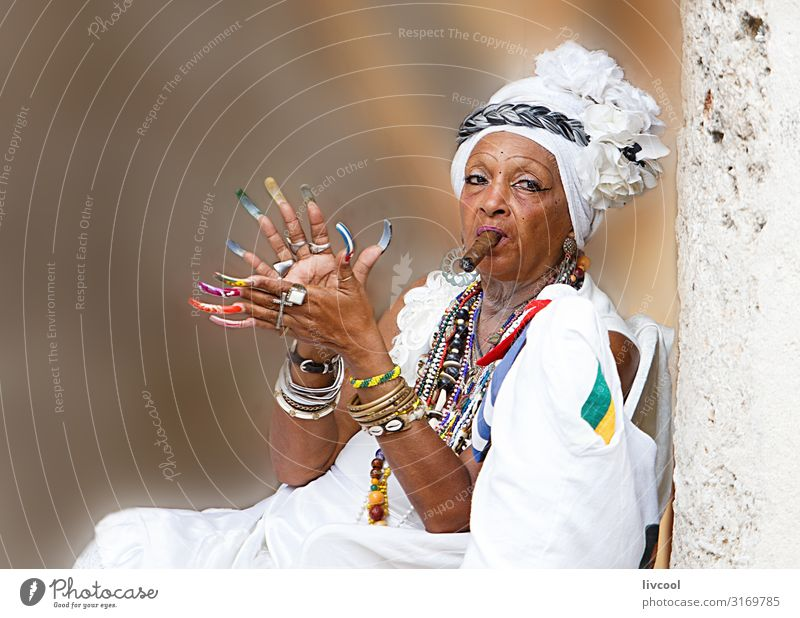 cuban santona smoking a cigar , havana - cuba Lifestyle Style Playing Vacation & Travel Trip Island Human being Feminine Woman Adults Female senior Grandmother