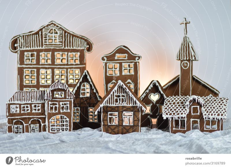 Gingerbread City 2 Beautiful Winter Snow House (Residential Structure) Decoration Christmas & Advent Village Town Church Facade Love Sweet White Anticipation