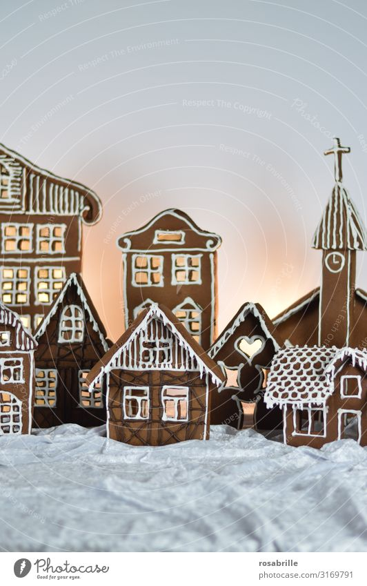 Gingerbread City 1 Beautiful Christmas & Advent Winter Village Town House (Residential Structure) Facade Decoration Icing Love Fresh Delicious Sweet White