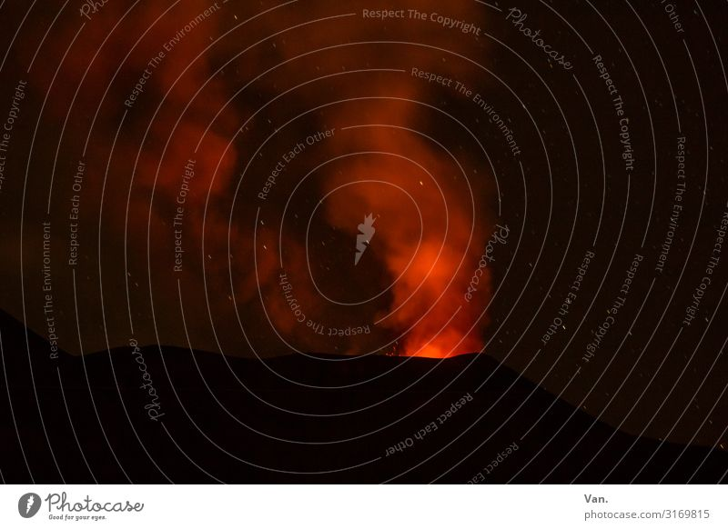Nature Red Dark Black Exceptional Stars Threat Peak Elements Smoke Sicily Volcano Glow Lava Volcanic crater Outbreak