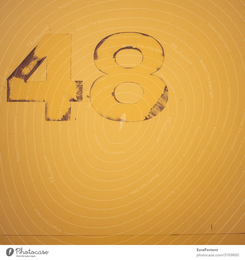 48 Sign Digits and numbers Signs and labeling Signage Warning sign Old Dirty Trashy Yellow Birthday Broken Abrasion Colour photo Exterior shot Abstract Pattern