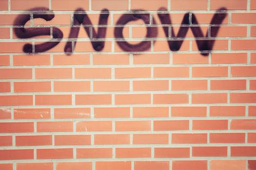 Nature Red House (Residential Structure) Winter Black Architecture Graffiti Wall (building) Environment Cold Snow Building Wall (barrier) Facade Snowfall Line