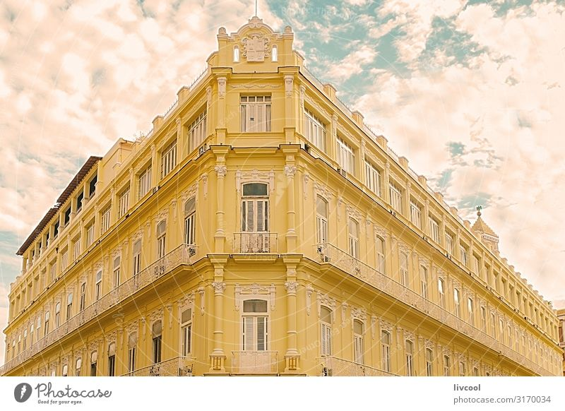 corner of downtown building, havana - cuba Vacation & Travel Old Blue Town Beautiful House (Residential Structure) Clouds Window Street Architecture Lifestyle