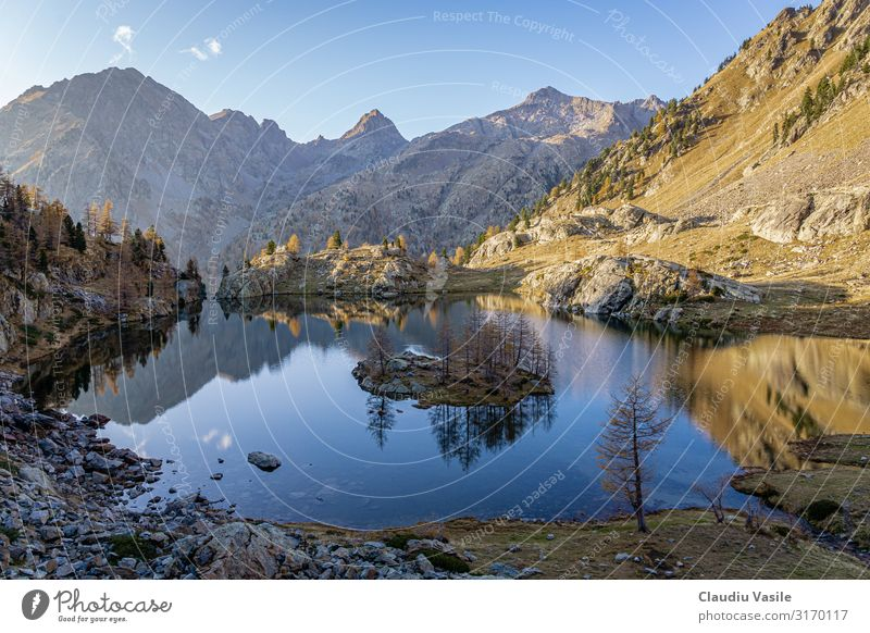 Trecolpas Lake in the French Alps Environment Nature Landscape Sky Autumn Tree Rock Mountain Island Hiking Exterior shot Beautiful breathtaking no persons
