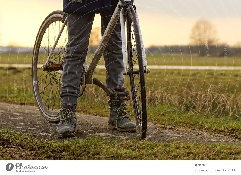 Cycling on dirt roads. Leisure and hobbies Trip Cycling tour Girl Infancy Youth (Young adults) Legs 1 Human being 8 - 13 years Child Nature Landscape Autumn